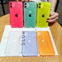 transparent glitter mobile phone cases For iphone 11 11pro x xs xsmax xr 6 7 8 6s plus soft tpu candy color drop protection cover female case
