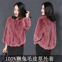 Women's Fur & Faux 2021 Women Winter Genuine Coat Ladies Solid O-neck Zipper Long Sleeve Jackets Female Vintage Plus Size Outerwear K