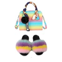 Real Fox Fur Rainbow Sandles With Matching Purses Furry Slides And Handbags Fluffy Slippers For Woman With Bag Match Women Shoes H0914