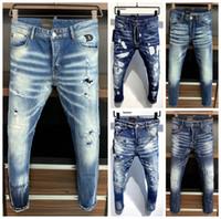 Son Liste Skinny Jeans Erkekler Için Yırtık Delikler Jeans Motosiklet Biker Denim Pantolon Erkekler Marka Moda Tasarımcısı Hip Hop Erkek Kot 44-54