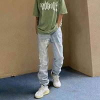 Cross embroidered pasted jeans high street hip hop vibe style men's ruffian handsome fried Street pants fashio