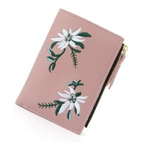 Wallets Women Wallet Female Card Holder Coins Zipper Short Purse Flower Embroideried Slim Pink Sweet Girls Fashion Clutch Bag
