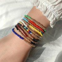 Bangle Bohemia Colorful Rice Beads Bracelets 5pcs Set Handmade Beaded Elastic Wristband Women Summer Travel Beach Party Jewelry