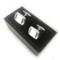 PURE PEARL High quality fashion Luxury Cuff Links stainless steel round square Silver Men Business Suit French Shirts CuffLinks Sleeve style Classic Buttons Box set