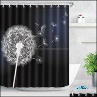 Aessories Bath Home & Gardenlb 180*180 Flower Dandelion White On Black Shower Curtains Washable Bathroom Curtain Floral Fabric Polyester For