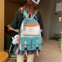 School Bags Preppy Style Backpack Women Luxury Multi Pocket Female College Cute Student Kawaii Book Bag For Teenage Girls