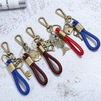 Retro Bronze Heart Whistle Owl Fish Buddha Charm Keychain Weave Key Ring Handbag Hangs Fashion Jewelry Will and Sandy