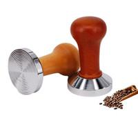 51/53 / 58mm Coffee Coffee Saboter Drewniane uchwyt Barista Espresso Maker Młynek Ręcznie robione młotek Kalibrowany Ciśnienie 210910