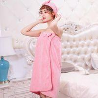 Towel 4pcsBath Towel+towel+ Dry Hair Cap+ Band Home Textile Women Robes Bath Wearable Dress Womens Lady Fast Drying B