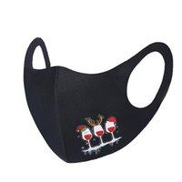 قطعة واحدة للجنسين الكبار الوجه أسود قناع عيد الميلاد قابلة لإعادة الاستخدام قابلة للغسل شجرة عيد الميلاد سانتا بند ثلج طباعة كارتون XHQB4A