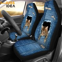 Chair Covers HUGSIDEA Cowboy Cat Design Car Seat Cover Washable Protector Galaxy Printed Dust-proof SUV Front