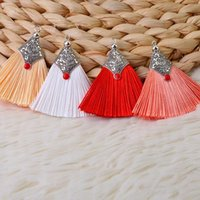 Charms 2pcs lot Silk Tread Tassel Brush With Ring For Jewelry Making Fringe Diy Earring Pendant Charm Handmade Decoration Craft