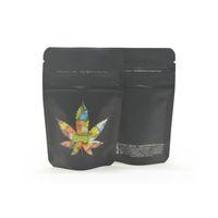 Siyah Koku Çocuk Geçirmez Çanta Mylar Stand Up Pencere Fermuar Kilit Kılıfı Çerezler Şeker Çocuk Dayanıklı Çıkış Çantası Gummies Edibles Paketleme Çanta