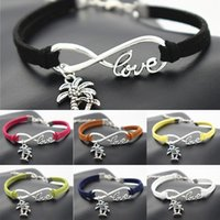 Fashion Summer Beach Vintage Plant Antique Infinity Love Double Coconut Palm Tree Charm Leather Bracelets Gifts Jewelry