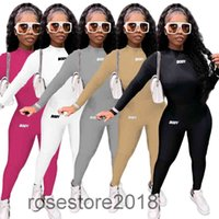 Sexy Women Sports Wear Two Piece Set Tops Long Pants 2 PCS letter printed casual two-piece Outfit Tracksuit 3086