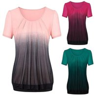 Women's T-Shirt Women Summer T Shirt 2021 Clothes Gradient Printed Pleated Plus Size Tribal Tops Tee Femme Camisetas De Mujer #T1G