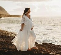 Платья для беременных свадьбы 2021 плюс размер пляжа свадебные платья половина рукава кружевной шифон линия халат де