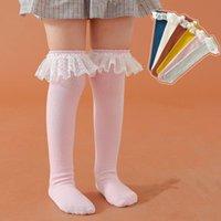 Bébé filles chaussettes genou haut avec des chaussettes à volants de dentelle fille princesse jambe douce jambe chaude longue tube pour enfants enfants 3-8Y