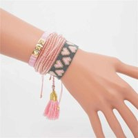 Charm Bracelets Go2boho Pink Miyuki Bracelet For Women Jewelry Gift Her Heart Set Multilayer Crystal Beaded Pulseras Mujer Bileklik
