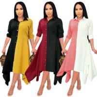 Kontrast Renk Patchwork Düzensiz Uzun Elbise Kadın Açın Yaka Tam Kollu Gömlek Elbiseler Ofis Bayan Düğme Bluz Elbise