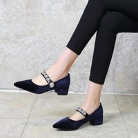 Klänning skor stor storlek damer höga klackar kvinnor kvinna pumpar marie velvet-tippade vattenborr buckled singelsko
