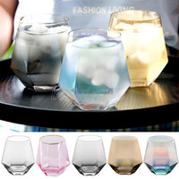 Copas de vino de cristal 300ml Copa de leche Copa de cristal de cristal Geometría Hexagonal Copa Phnom Penh Whisky Taza de vidrio Tabho de vidrio
