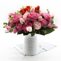 Decorative Flowers & Wreaths 30cm Rose Pink Silk Peony Artificial Bouquet 5 Big Head And 4 Bud Fake Plants For Home Wedding Decoration In Do