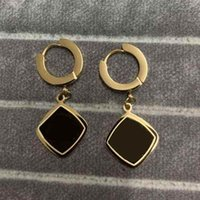 Never Fading Big Size Luxurious Letter Double Square Stud Earring Gold Plated Classic Style Stainless Steel Earrings For Women Designer Jewelry