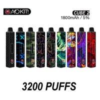 Authentische AOKIT CUBE 2 Vape Bar Einweg-Pod-Gerät 3200Puff 1800mAh-Batterie 12ml VAPE-Kartuschen Verdampfer-Stick-Stift 100% Original
