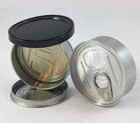 packing bags 60ml Pressitins cans pressitin 73mm*23mm Cali pressitinn tuna Tin Candry HerbTin Clear Peel Off Lid black Cover Smell proof