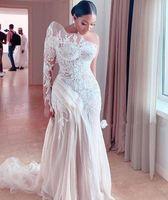 Одно плечо с длинными рукавами русалка свадебные платья свадебные платья свадебные платья кружевные аппликации развертки поезда корсет задний тюль плюс размер невесты платье невесты