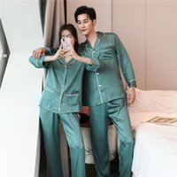 Yeni Pijama Set Uzun Kollu Güzel Pijama Rahat Cilt Dostu Gecelik Kadın Erkek İlkbahar Sonbahar Homeware 291 S2