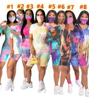 Plus size 3XL Women Sweatsuits Tie-dyed Tracksuits Casual Outfits Two Pieces Sets T-shirt+Shorts+Mask Sportswear Summer clothing Jogging Suit 8colors DHL 4884
