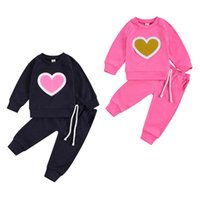 Clothing Sets 0-3Y Born Baby Girls Boys Clothes Love Heart Print Long Sleeve Pullover Sweatshirt Tops Pants 2 Colors