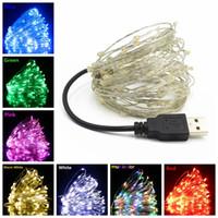 2/5 / 10m USB LED String Lights Copper Silver Wire Garland Licht Waterdichte Fairy Lights voor Kerst Bruiloft Decoratie