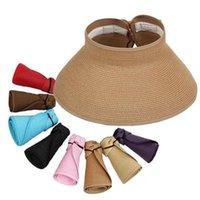 Geniş Brim Şapka Ozyc Marka 2021 İlkbahar Yaz Vizör Cap Kadınlar Için Katlanabilir Büyük Güneş Şapka Plaj Saman Toptan Chapeau