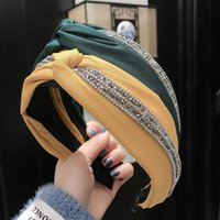 Hair Accessories Simple Headband For Women Solid Color Diamond Band Cross Hairband Wide-Brimmed Fabric Hoop Bezel Girl Headwear