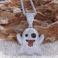 Iced aus Ghost of Grimace Halskette Anhänger mit 4mm Tenniskette Gold Farbe Bling Zirkon Herren Hip Hop Schmuck für Geschenk X0509