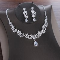Pendant Necklaces Fashion Clear Zircon Necklace Earring Set Wedding Bridal Jewelry Accessories Rhinestone Cubic Zirconia Women Gifts