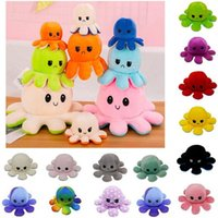 DHL kids children toys Christmas Party Favor Soft Double-sided Expression Plush Toy Stock Reversible Flip Octopus Stuffed Dolls