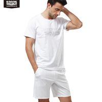 52025 Erkekler Pijama Set Pamuk Modal Kısa Kollu Pijama Rahat Yaz Lounge Pijama Pijama Ev Giysileri Gecelikler 210812