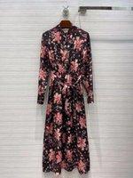 214 XL 2021 Livraison Gratuite Spring longue manches Équipe Col Col Col Silk Haute Qualité Robe De La mode Top robe Femme Vêtements Lei