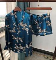 100 % 실크 얼룩말 인쇄 여성 잠옷 레이디 긴 바지 반바지 블라우스 나이트 셔츠 캐주얼 홈 서비스 잠옷 셔츠 탑스