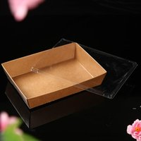 Tek Kullanımlık Kraft Kağıt Yemeği Yiyecek Kutuları Temizle Kapak Ile Hızlı Gıda Ambalaj Salatası Kızarmış Gıda Sarma Araçları RRA8033