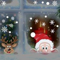 Pegatina de pared de reno de dibujos animados Decoración del hogar Feliz Navidad Navidad Copo de nieve Pétalo Ventana de la ventana Regalo de Navidad para niños