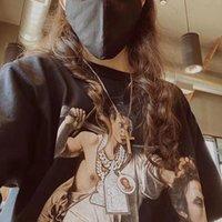 특대 웨스트 사이드 gunn 파리 파리에 대 한기도 힙합 패션 협업 블랙 캐주얼 티셔츠 남성 여성 티 탑스 스트리트웨어