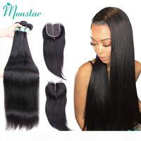 MONSTAR 30 32 32 36 38 40 дюймов Бразильские пакеты волос с закрытием прямые пакеты волос с закрытием человеческого наращивания волос