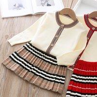 2020 가을 새로운 도착 여자 패션 니트 2 조각 세트 스웨터 코트 + 치마 소녀 부티크 복장 아기 소녀 겨울 옷 x0923 493 Y2