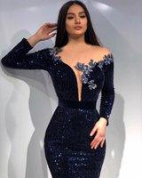 럭셔리 이브닝 드레스 반짝이 스팽글 크리스탈 댄스 파티 드레스 해군 파란색 긴 소매 깎아 지른 넥 특별 행사 가운 가운 드 마리레
