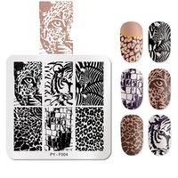 Pint You 6 cm * 6 cm quadrado leopardo prego estampagem placas de animais estêncil ferramentas de estêncil aço inoxidável arte design selo